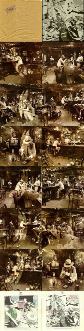 Les différentes versions des pochettes d'In Through The Out Door, de Led Zeppelin